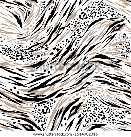 Animal skin tiger ,and cheetah,lepard in safari mood in the wave way seamless pattern in vector , Design for fashion ,fabric, web, wallpaper , wrapping , and all graphic type white background color