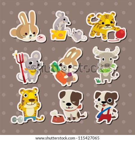 animal stickers - stock vector