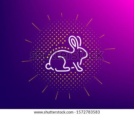 Animal tested line icon. Halftone pattern. Bio cosmetics sign. Fair trade symbol. Gradient background. Animal tested line icon. Yellow halftone pattern. Vector