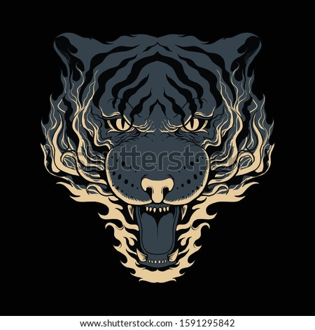 animal tiger fire roar angry