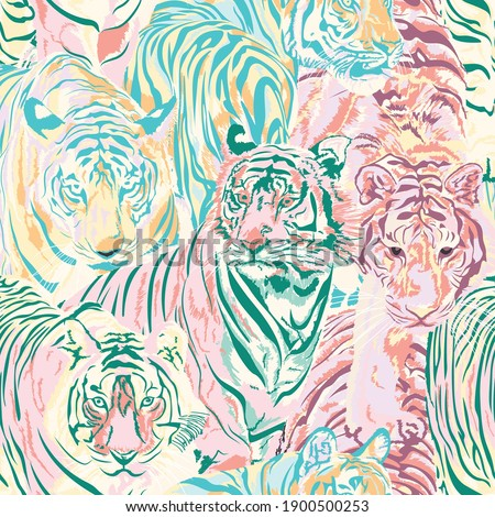 Animal Tigers Art Pastel Color Seamless Pattern, Animals wildlife Vector illustration Background Wallpaper,Safari Wildlife