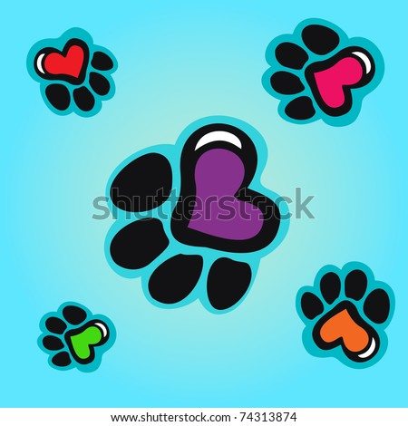 Animal tracks with hearts seamless background