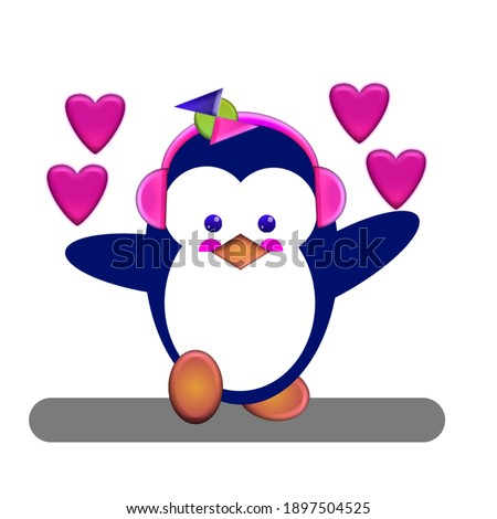 Animal Vector Cute Pinguin On Illustration Image,perfect for kids education Brochures,Print on Kid T Shirt etc Stockfoto ©