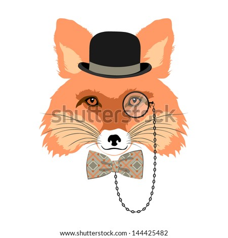 animal vector portrait  fox in