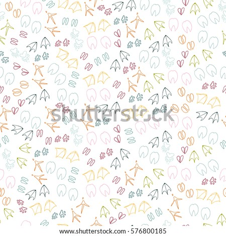 Animal vector seamless pattern. Poultry, pet steps on a white background.
