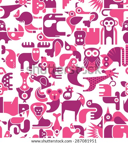 Animal vector seamless wallpaper. Animal icons on white background.