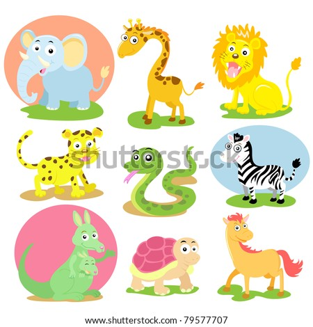 animal wildlife set - stock vector