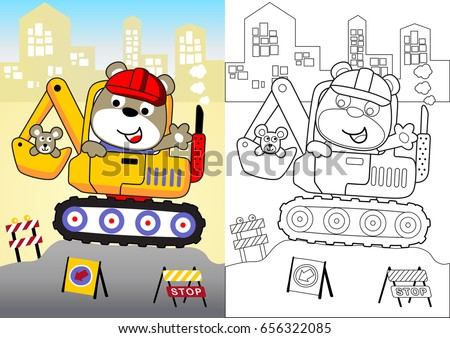 animal worker on heavy tool, vector cartoon, coloring book or page
