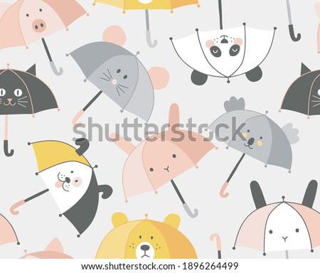 Animalistic Umbrella with cute kawaii animal Bunny Mouse Panda Pig Dog Cat Koala Bear face seamless pattern. Rainy weather kids background for fabric textile surface design. Vector illustration