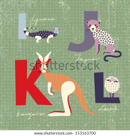 animals alphabet i  j  k  l