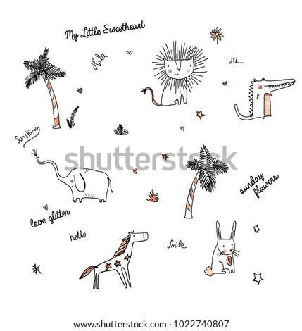 Animals and palm tree doodle print