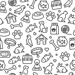 Animals and pets - seamless pattern. Can be used to illustrate topics like animals, pets, veterinary and healthcare topics.