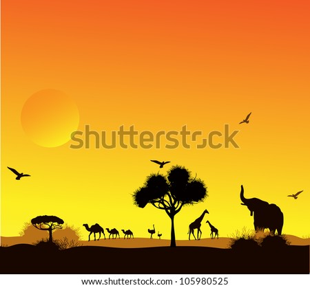 animals and trees against a