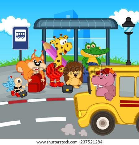 animals at bus stop waiting school bus vector illustration eps