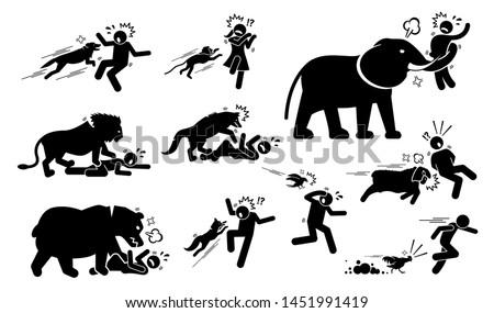 animals attack human icons