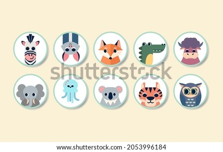 Animals avatars in simple design for kid's greeting card design, t-shirt print, inspiration poster, stickers.  Stok fotoğraf ©