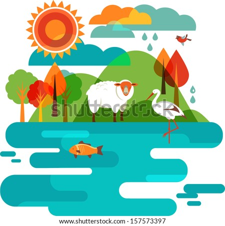 Animals Background - Illustration of nature, sheep, stork and fish