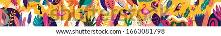 Animals big collection. Animals of Brazil. Vector colorful set of illustrations with tropical flowers, leaves, monkey, flamingo, and birds. Brazil tropical pattern. Rio de janeiro pattern