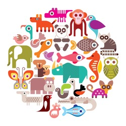 Animals, Birds and Fishes - round vector illustration. Isolated color icons on white background.