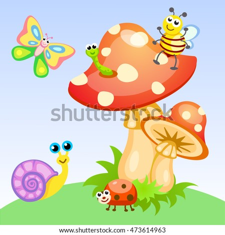Animals: butterfly, caterpillar, bee, snail and ladybug. #473614963