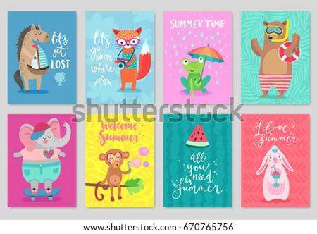 Animals card set, hand drawn style, summer theme. Vector illustration.
