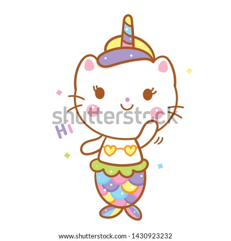 Animals cartoon cat mermaid in unicorn vector kawaii style with pastel color, hi posture (illustrator): Nursery decoration, Fairly tales character- card, inspiration poster and Print for t-shirt.