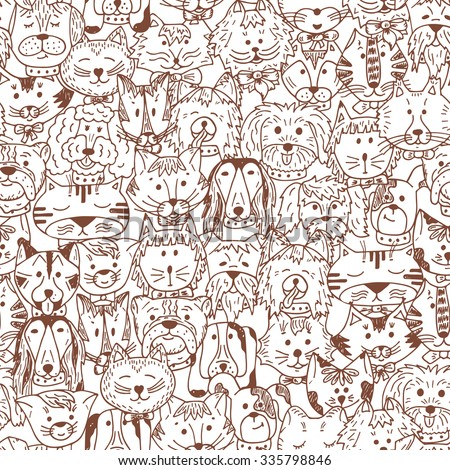 animals cats and dogs vector