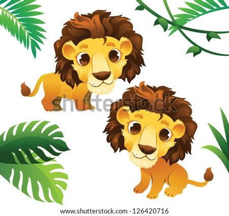Animals Collections: Lions with Tropical Frame