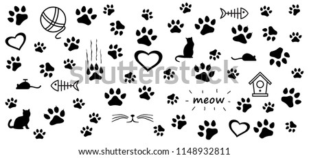 Animals day footsteps foot feet cat cats kitten puppy puss, pussy paw puppy foot print vector eps footprints fun funny paws sign signs walks walking footmark silhouette steps toy doodle fish