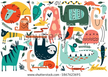 animals doodle set collection funny colorful cartoon characters cute wild safari mammals illustration