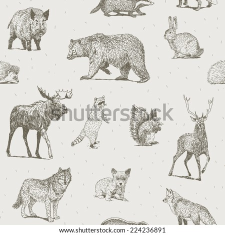 animals drawings seamless