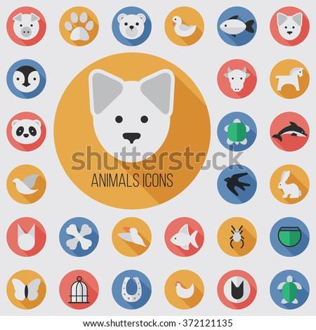 animals flat  digital icon set