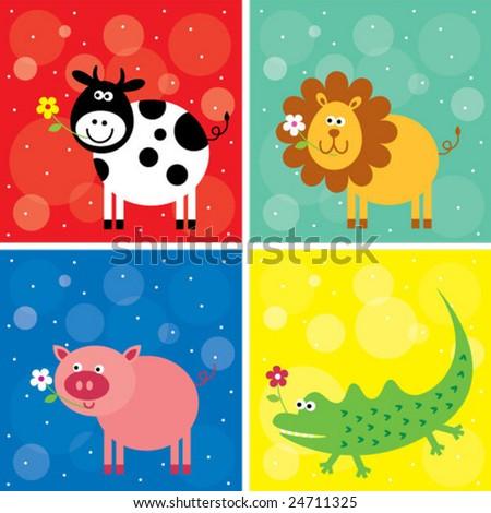 animals greeting card set