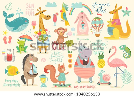 Animals hand drawn style, Summer set - motivation calligraphy and other elements. Vector illustration.