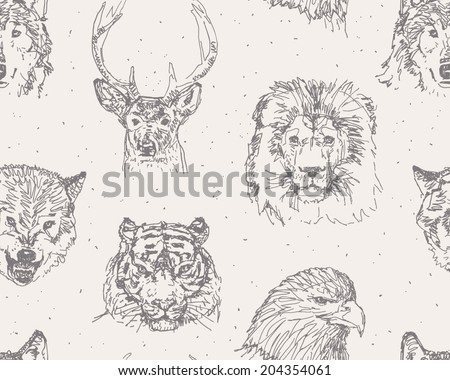 Animals heads drawings seamless pattern