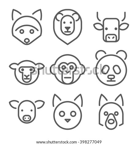 Animals heads vector line icons set.