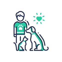 Animals Help - modern vector single line design icon. An image of a human with cat and dog under heart sun. Green color on white background. Charity, volunteering, shelter, vet clinic presentation.