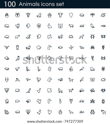 Animals icon set with 100 vector pictograms. Simple outline farm icons isolated on a white background. Good for apps and web sites.