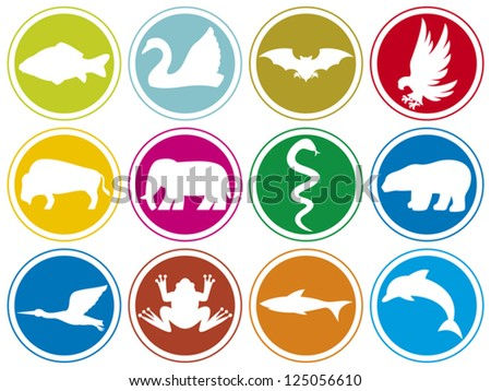 animals icons buttons (eagle, bird, elephant, snake, bear, dolphin, swan, bat, buffalo, stork, frog, shark, carp fish)