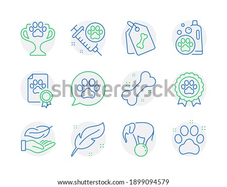 Animals icons set. Included icon as Dog competition, Pets care, Pet tags signs. Lightweight, Feather, Winner cup symbols. Dog vaccination, Elephant on ball, Pet shampoo line icons. Vector