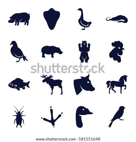 animals icons set set of 16