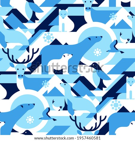 Animals in Arctical, Polar - abstract vector pattern, seamless with polar bear, arctic fox, bird, penguin, fish, reindeer, seal. Perfect for fabric, textile, wallpaper.