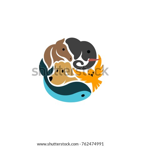Animals in Circle Globe logo Template