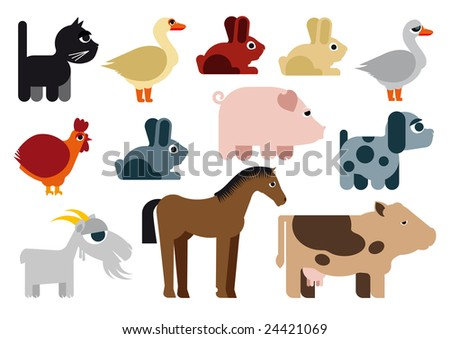 Animals in farm / Illustration - stock vector