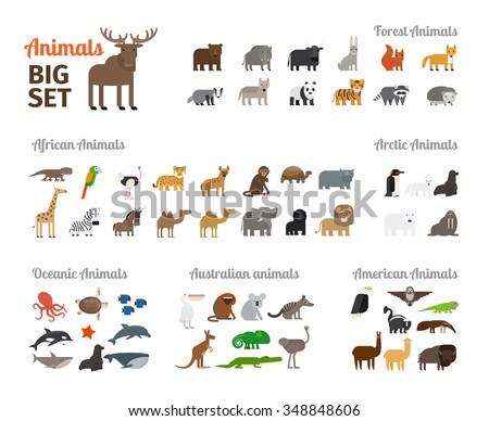 animals in flat style big set
