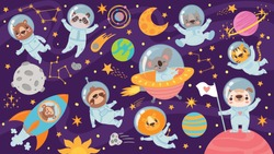 Animals in open space. Cute animal astronauts in space suits, flying in rocket. Characters exploring universe galaxy with planets, stars, spaceship for children print cartoon vector pattern.