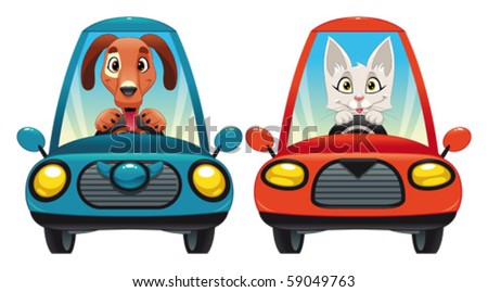 Animals in the car: Dog and Cat. Funny cartoon and vector isolated characters.