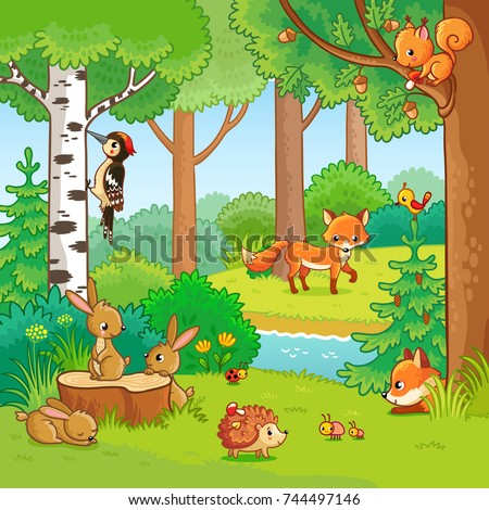 Animals in the forest. Vector illustration with cute fox, squirrel, hare, hedgehog and insects in a children's cartoon style.