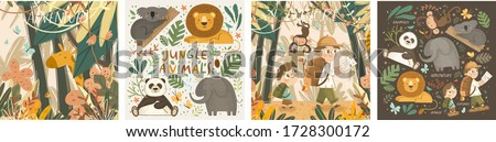 Animals in the jungle and explore. Vector cute illustrations of children's adventure, explorations, panda, koala, lion, elephant, giraffe, monkey and kids travelers.