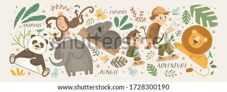 Animals in the jungle and explore. Vector cute illustrations of children's adventure, explorations, panda, koala, lion, elephant, giraffe, monkey and kids travelers.